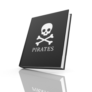 Book with pirates flag